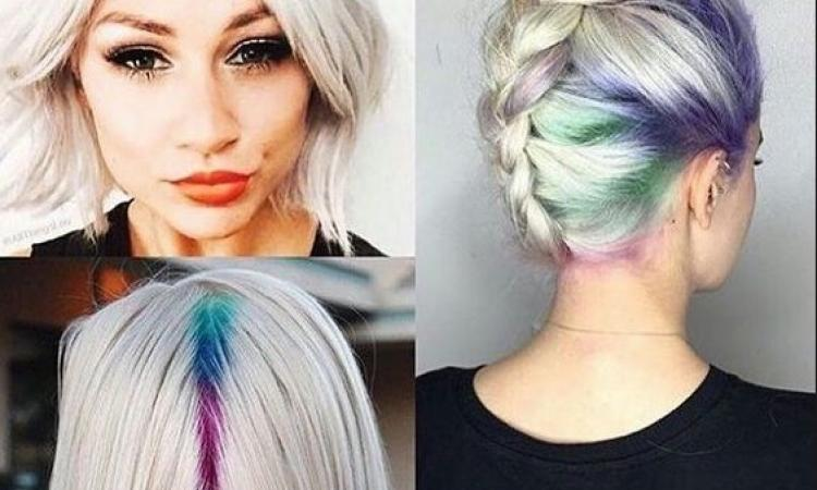 tendance coloration cheveux hidden rainbow roots