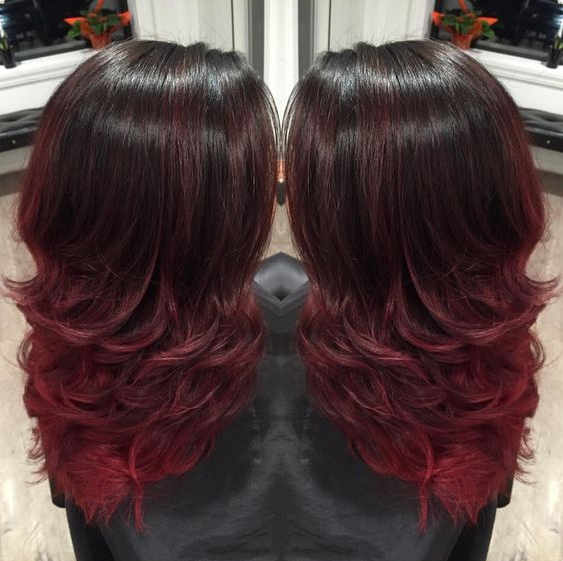 Ombr hair rouge cerise - Coloration rouge cerise ...