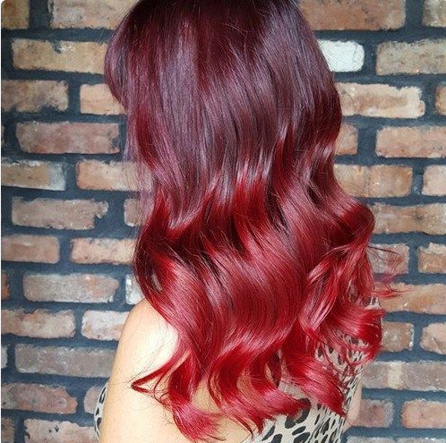 Ombr hair rouge - Coloration rouge cerise ...