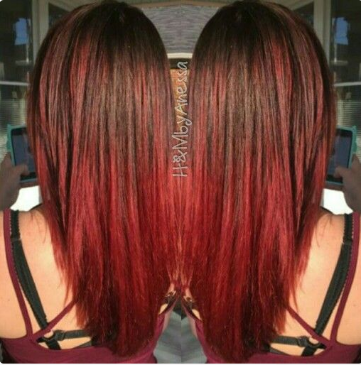 Coloration ombré hair rouge cerise