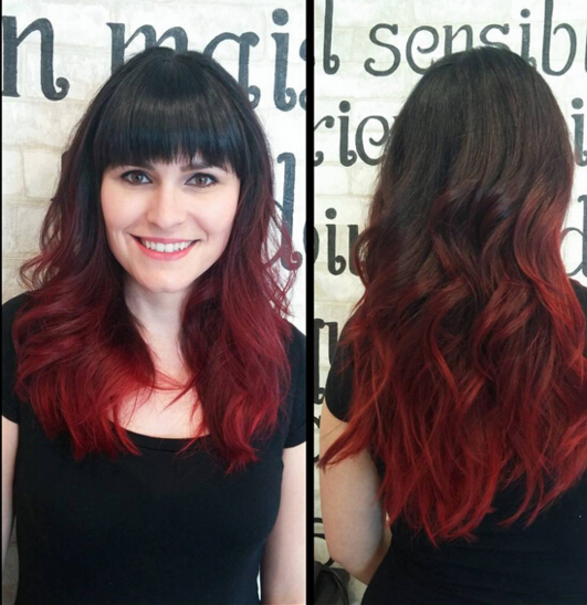 Ombr hair noir et rouge - Coloration rouge cerise ...